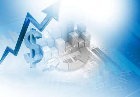 Dollar-Währungswachstums-Diagramm. 3D-Darstellung