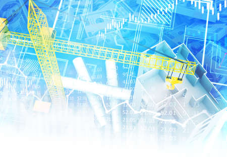 Building construction blueprint with stock market graph. 3d illustration