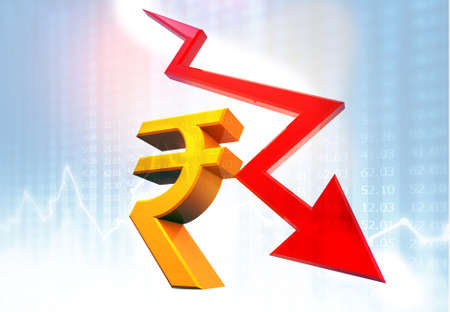 Decrease growth arrow with Rupee sign. decrease in Indian Rupee value concept. 3d illustration