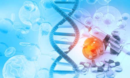 Human dna with genetic medicine. 3d illustration Фото со стока