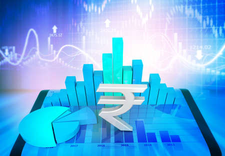 Indian rupee symbol  with  business growth chart. 3d illustration Stock fotó