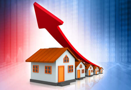 House with arrow graph. Real estate growth graph. 3d illustration