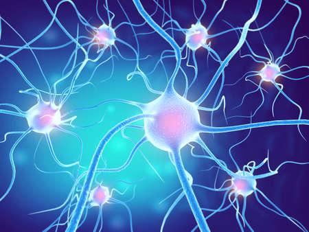 Neuronales Netz im Gehirn. Nervensystem, Neuronen. 3D-Rendering