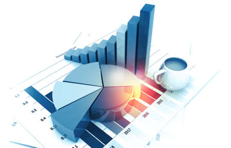 Business graphs and financial reports. 3d illustration Stock fotó