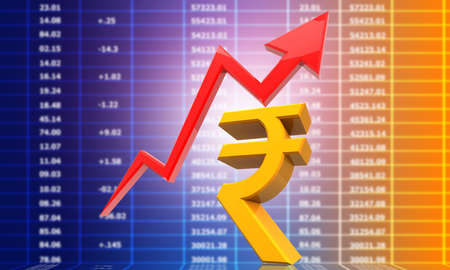 Arrow graph with a India Rupee symbol. successful investment chart. 3d illustration Stock fotó