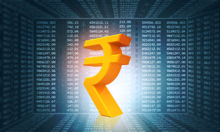 Rupee sign on stock market background. 3d illustration
