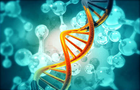Abstract DNA molecules structure, science  background. 3d illustration Stock Photo