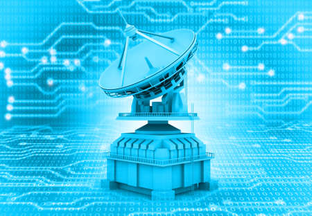 Satellite dish on high tech circuit background. 3d illustration