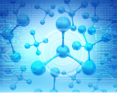 Futuristic molecules background. 3d illustration