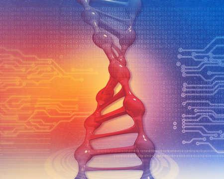 Futuristic  DNA on circuti background. 3d illustration