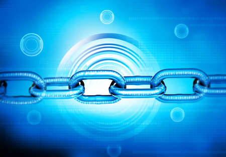 Binary chain, cyber security concept background. 3d illustration