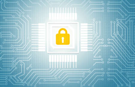 Pad lock on circuit background, cyber security concept background. 2d illustration  Stock fotó