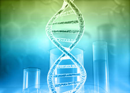Science laboratory test tubes with DNA on scientific background. 3d illustration