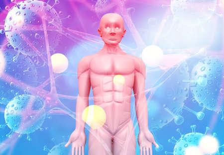 Human figure on virus background. 3d illustration