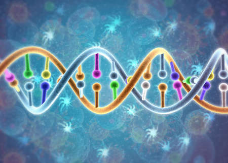 DNA spiral molecule on science background. 3d illustration Stock Photo
