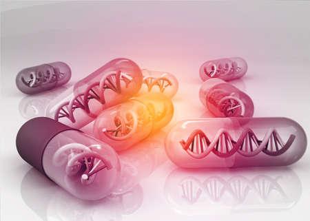 DNA pills, genetic medicine. 3d render