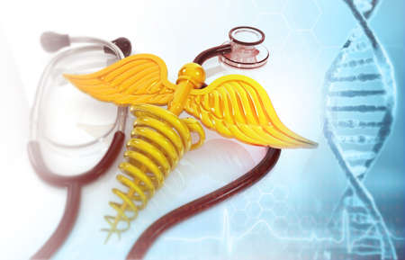 Stethoscope and medical symbol , caduceus with dna background