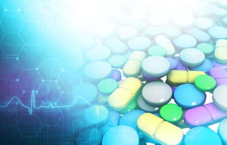 Medicine tablet with medical background. 3d illustration