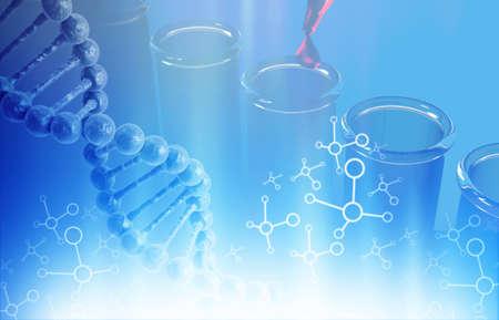 Dna molecule on science, biochemistry background. 3d illustration Stock Photo