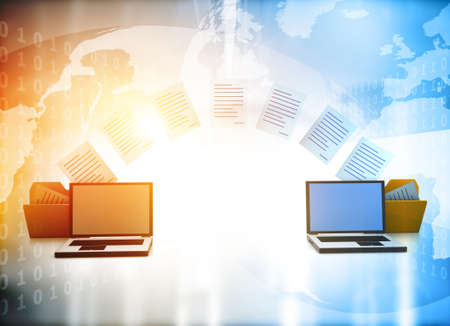 Two laptops transferred documents. Data, File, Folders with paper files. 3d illustration Stock Photo