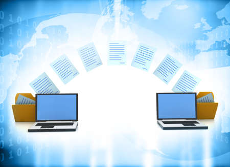 Two laptops transferred documents. Data, File, Folders with paper files. 3d illustration