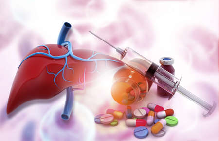 Anatomy of liver with pharmaceutical medicine. glass bottle, pills and a syringe. 3d illustration Stock Photo