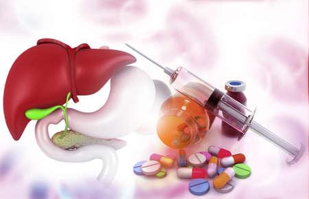 Anatomy of liver with pharmaceutical medicine. glass bottle, pills and a syringe. 3d illustration Reklamní fotografie
