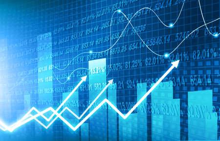 Fondo de gráfico de finanzas bursátiles con gráfico de crecimiento abstracto. Ilustración 2d