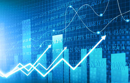stock market finance graph background with abstract Growth graph chart. 2d illustration