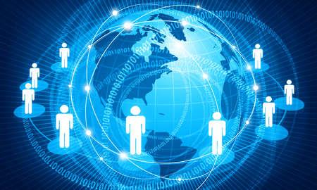 Concetto di rete aziendale globale, comunicazione internet. illustrazione 3D Archivio Fotografico
