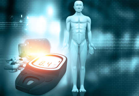 Man with glucometer and medicine. 3d illustration