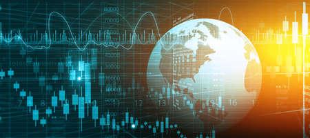 Grafico del mercato azionario finanziario. Illustrazione digitale