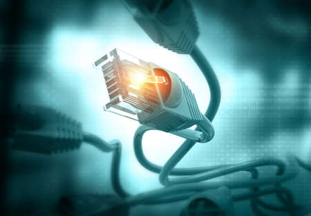 Network cable and telecommunications.technology concept background. 3d illustration