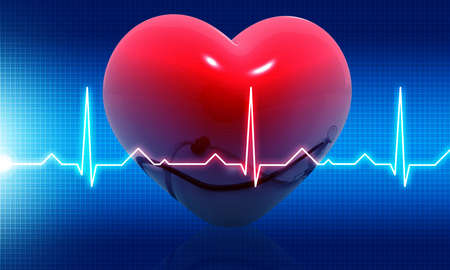 Ecg graph with heart on  medical background. 3d illustration Stock Photo