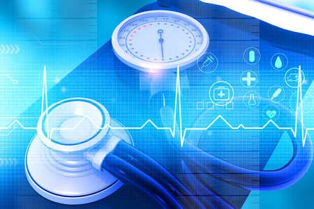 Blood pressure meter sphygmomanomete. 3d illustration