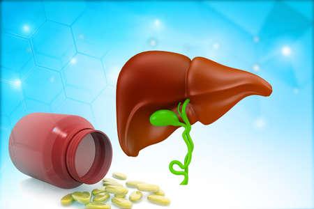 Human Liver anatomy with medicine health pills drug on blues background. 3d illustration