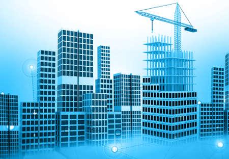City building construction concept. 3d illustration  Stock fotó