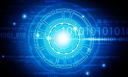 Fondo de tecnología abstracta. elementos tecnológicos con códigos binarios. Ilustración digital