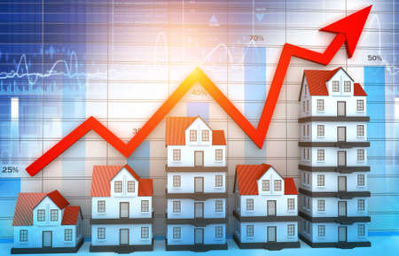 Arrow graph with house graph. Growth in real estate. 3d illustration