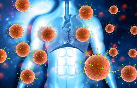 Virus attacking human body. 3d illustration