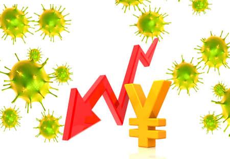 Coronavirus affecting economy.Yen and falling arrow. 3d illustration