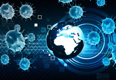 coronavirus affecting world. 3d illustration