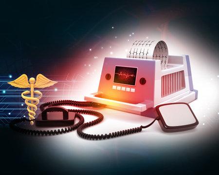 Defibrillator machine on medical background. 3d illustration