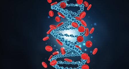 DNA strand with  blood cells. 3d illustration Standard-Bild