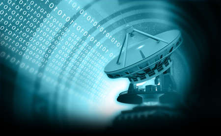 Satellite dish antenna on abstract technology background. 3d illustration
