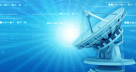 Satellite dish antenna on technology background. 3d illustration