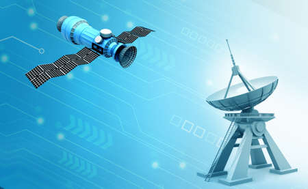 Space satellite and satellite dish.3d illustration Standard-Bild