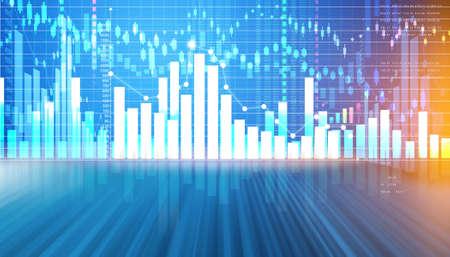 Stock market graph background. Digital illustration Standard-Bild