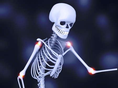 Human skeleton on darke background. 3d illustration Standard-Bild