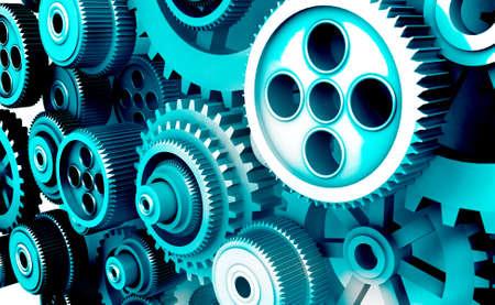 3d gears and cogwheels background. 3d illustration Standard-Bild